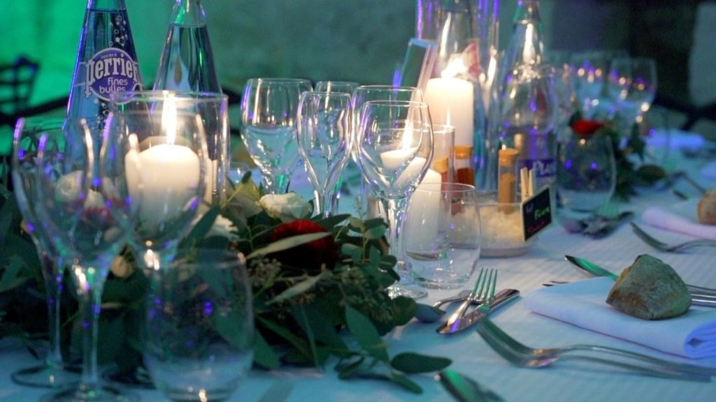 Table, décoration, Perrier, Mariage