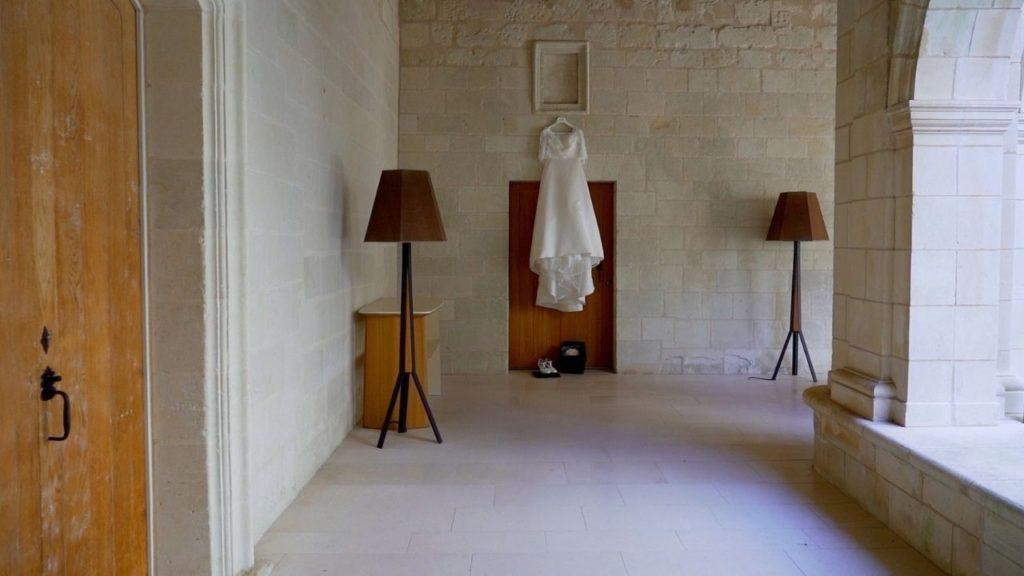 Robe de mariée à l'Abbaye de Fontevraud